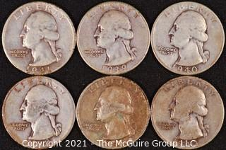 Numismatic: (6) Silver Washington Quarters (1939>1944)