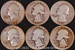 Numismatic: (6) Silver Washington Quarters (1936>1945)