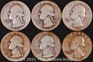 Numismatic: (6) Silver Washington Quarters (1937>1944)