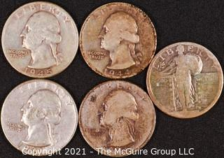 Numismatic: (4) Silver Washington Quarters (1941>1945); (1) Standing Liberty Quarter