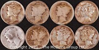 Numismatic: (8) Silver Mercury Dimes (1920>1938)