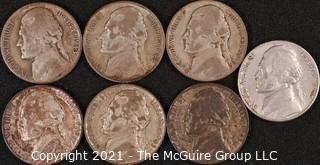 Numismatic: (7) Wartime Jefferson Nickels