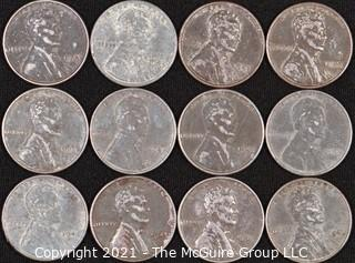 """Numismatic: (12) Steel """"Wartime"""" Lincoln Wheat Cents"""