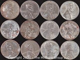 Numismatic:  (12) Steel Wartime Lincoln Wheat Cents