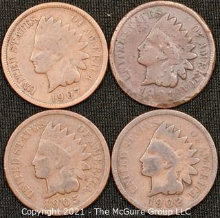 Numismatic: (4) Indian Head Cents (1901>1907)