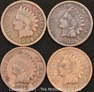 Numismatic:  (4) Indian Head Cents (1902>1904)