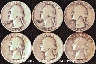 Numismatic: Silver Washington Quarters x6 (1932>1935)