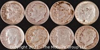 Numismatic: (8) Silver Roosevelt Dimes (1947>1964)