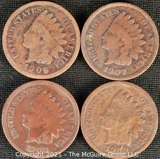 Numismatic: (4) Indian Head Cents (1906>1909)