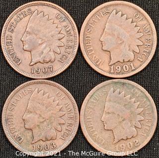 Numismatic: (4) Indian Head Cents: (1901>1907)