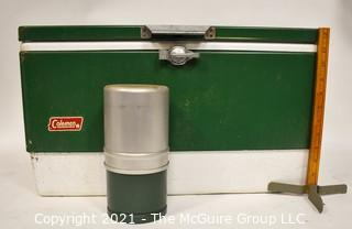 Vintage Green and Chrome Coleman Cooler & Camp Stove.