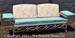 Furniture: MCM: Aluminum Frame Glider with cushions