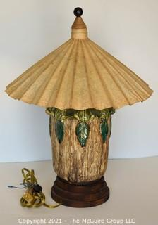 """Majolica Style Porcelain Lamp with Frog Decoration and Paper Shade.  Measures 8""""W x 21""""T"""