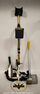 Fisher 1235-X Metal Detector with Sand Strainer Bucket & Set Of Excavation Tools On Belt