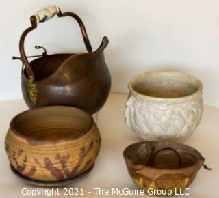 Selection of Ceramic Garden Pots and Coal Ash Scuttle. Includes McCoy Pottery.
