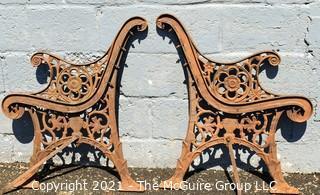 Vintage Cast Iron Garden Bench End Plates
