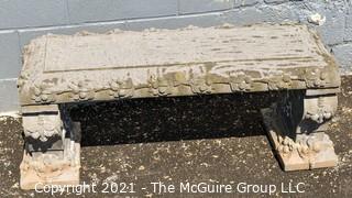 Vintage Concrete Garden Bench in Three (3) Pieces