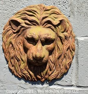 """Antique Architectural Salvage Cast Iron Lion Head Wall Decoration.  Measures 10"""" in diameter."""