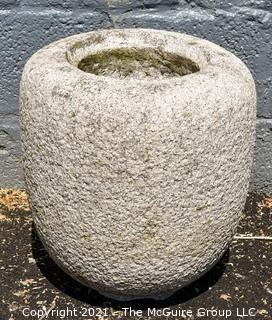 """Antique Japanese Hand Carved Granite Garden Planter or Water Basin. Measures 16""""T x 13""""D."""