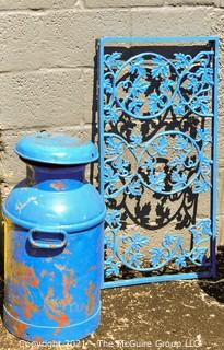 Metal Garden Screen Panel and Vintage Milk Can with Brooklyn NY Impression on Lid.  Both Painted Blue.