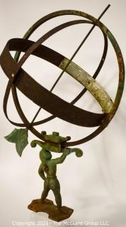 """Vintage Architectural Atlas Armillary Sundial.  Missing Arrowhead.  Sold with Ceramic Base.   Measures 16"""" Diameter and 27""""T without base."""