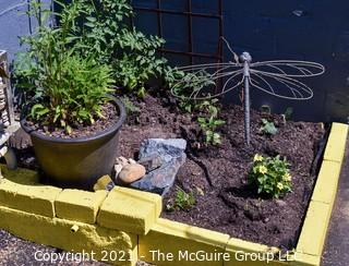 Large Metal Dragonfly Garden Sculpture on Curved Metal Spike (garden not included).