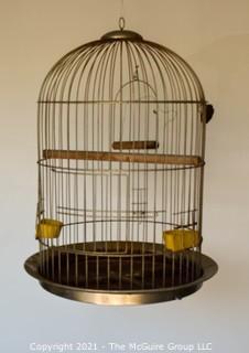 "Large Metal Bird Cage.  Measures 33""T X 25""D."