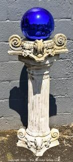 Cement Garden Pillar Column with Large Blue Glass Gazing Ball, Three (3) Pieces.