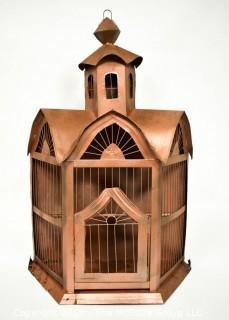 "Copper Bird House Garden Decoration. Measures 25""T."