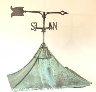 """Antique Copper Cupola with Weather Vane. Measures 29""""Square and 31"""" T."""