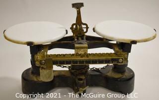 "Antique Mercantile Trip Balance Scales with White Porcelain Trays,  Chicago Central Scientific CENCO.  Measures 12""W x 6""T."