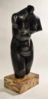 "Female Nude Sculpture on Marble Base Entitled ""Torso of Aphrodite"" by ALVA Studios.  20""H x 8""W x 6""D."