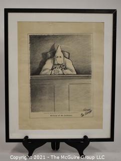 "Framed Under Glass Political Cartoon Signed by Artist Gene Elderman ""Reform of the Judiciary"". Measures 24""H x 20""W."