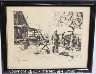 """Framed Under Glass Etching Entitled """"Point Mugu"""", Ventura County, CA.  Signed by artist Lionel Barrymore (1878 - 1954).  Measures 15""""W x 12""""T."""