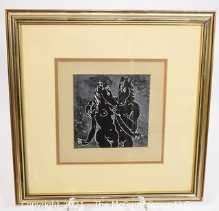 """Framed Under Glass Unsigned Woodblock, Nudes with Horse Head.  Measures 16"""" Square,"""