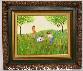 """Framed Oil on Canvas Entitled """"The Turtle"""" Signed by Artist Sarah Feldman, 1970.  Measures approximately 19"""" X 17""""."""