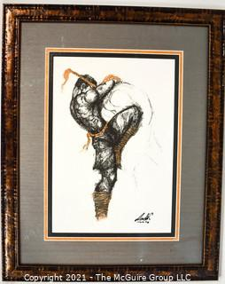 """Framed Under Glass Painting Entitled """"Native American Dancer"""" Signed by Artist, Signature Illegible.  Measures 21""""H"""