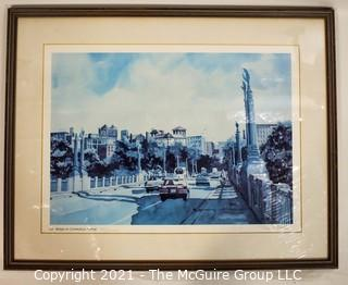 """Framed Under Glass Print Of The Lion Bridge On Connecticut Ave. NW, Washington, D.C.  Signed and Numbered by Eric Mohn.  Measures 20"""" x 24""""."""