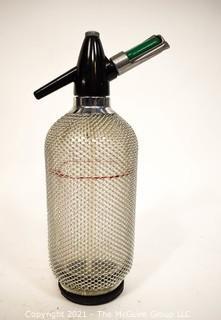 Vintage Mid Century Modern Soda Syphon.  Glass with Metal Mesh Overlay.  Barware.