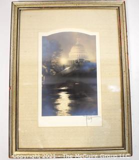 """Signed by Artist and Framed Under Glass Black & White Silver Gelatin Photograph of the US Captial, circa 1930's; 8"""" x 11""""."""
