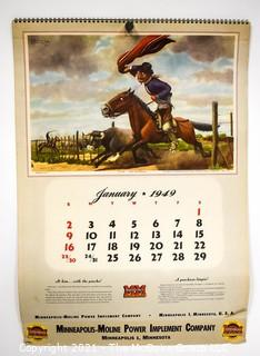 Complete 1952 Spiral Bound Set Of 12 Calendar Pages Produced for the Minneapolis-Moline Power Implement Company Featuring Artwork Of Argentine Artist F Molina Campos