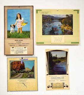 Four (4) Vintage Advertising Wall Calendars, Complete