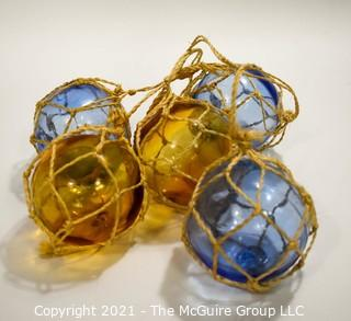 Group of Vintage Blue & Yellow Hand Blown Glass Fishing Net Floats.