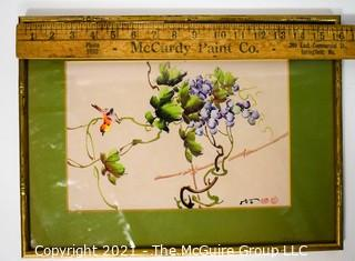 """Framed Under Glass Asian Signed Watercolor of Bird on Grape Vine with Chop Marks.  Measures 16"""" x 12""""."""