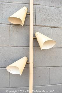 Mid Century Modern White Metal Three (3) Light Tension Mount Pole Lamp. Missing Feet.