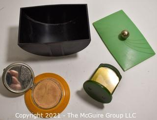 Art Deco Mid Century Bakelite Vanity Items Including Trinket Box, Powder Compact and Pin Holder.