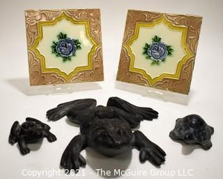 Three (3) Cast Iron Frogs Made by Virginia Metalcrafters and Two (2) Vintage Tiles
