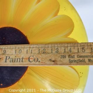 """Large Yellow Daisy Flower Lucite Garden Step.  Measures 15"""" in diameter."""
