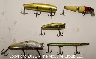 Collection of Five (5) Vintage Fishing Lures.  Three (3) plastic and two (2) wood.