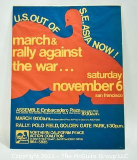 """Vintage Pop Art Protest Poster.  """"U.S. OUT OF S.E. ASIA NOW!"""" Northern California Peace Action Coalition, March & Rally Against the War Poster, c.1974. Offset Lithograph on Paper.   Measures 21 3/4 × 17""""."""